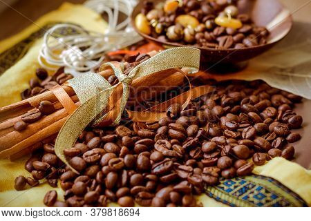 Vanilla Pods And Brown Coffee Beans Background.roasted Coffee Beans. And Aroma Coffee Beans , . Cinn