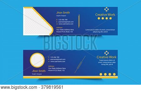 Corporate Mail Signature Template Design. Web mailing interface individualizes signature forms. Digital Communication with Customer. Professional Business Information.