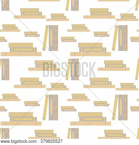 Books Stand And Lie In Piles. Seamless Pattern. Flat Design, Vector Interior Illustration In Pastel
