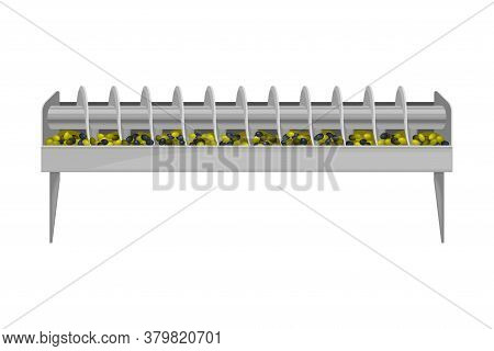 Conveyor Belt With Olives Crushing And Pressing As Oil Production Process Vector Illustration