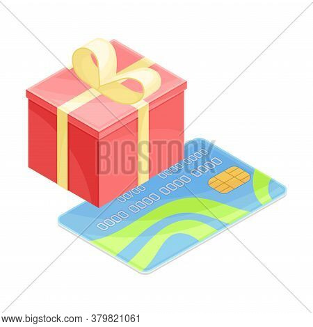 Gift Carton Box And Plastic Credit Or Debit Card As Payment Method Vector Isometric Illustration