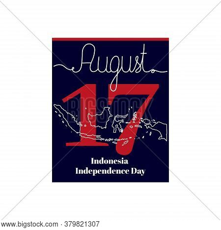 Calendar Sheet, Vector Illustration On The Theme Of Indonesia Independence Day On August 17. Decorat