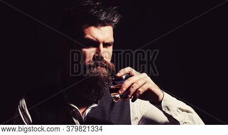 Man Holding A Glass Of Whisky. Sipping Whiskey. Portrait Of Man With Thick Beard. Macho Drinking. De