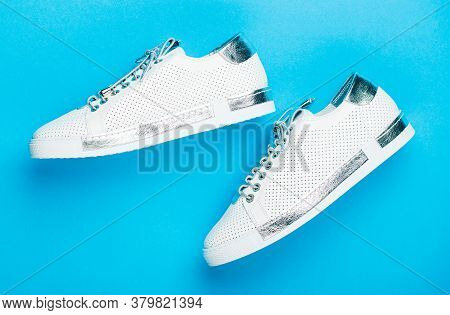 Overhead Shot Of Running Shoes. Close Up, Modern Fashion Shoes Made Of Laces. Sneakers Isolated On B