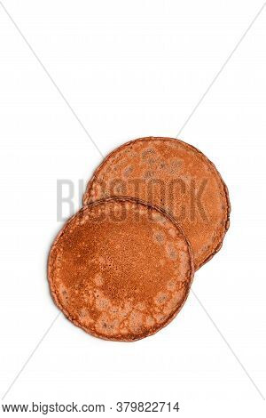Two Brown Pancakes Isolated On White Background