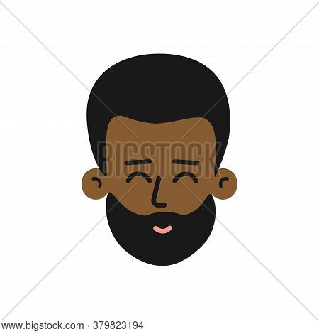 Vector Isolated Concept Vith Flat Cartoon Character. Head Of Yound Adult African American Man. Happy