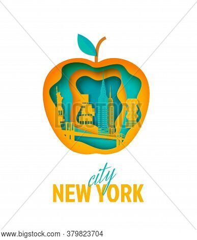 New York Landscape In Apple Form Frame In Paper Cut Style. Cut Out Silhouette Skyscraper, Statue Of
