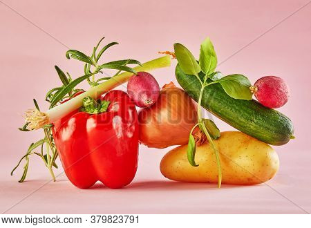 A Gourmet Food Composition With Colorful Vegetables On A Pink Background, For A Fun Gastronomy And V