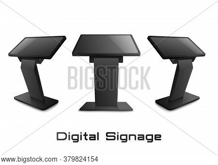 Digital Signage Or Terminal In Views Set, 3d Mockup Vector Illustration Isolated.
