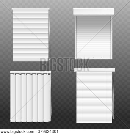 Set Of Blind Windows Or Blinds Realistic Vector Mockup Illustration Isolated.