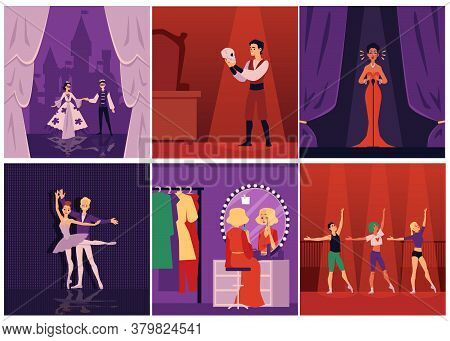 Dramatic Theater Actors, Singers And Ballet Dancers On Stage Set Of Flat Vector Illustrations.