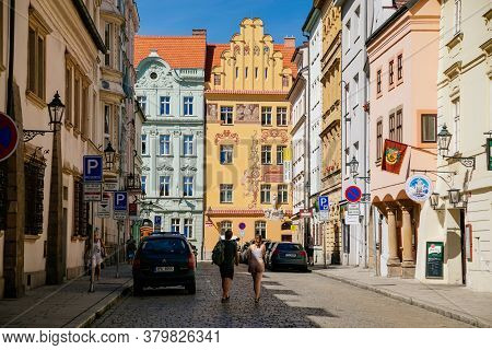 Colorful Renaissance Historical Buildings In The Center Of Plzen In Sunny Day. Pilsen, Western Bohem