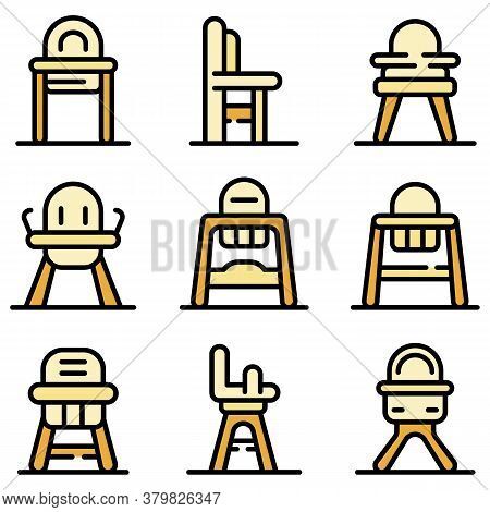 Feeding Chair Icons Set. Outline Set Of Feeding Chair Vector Icons Thin Line Color Flat On White
