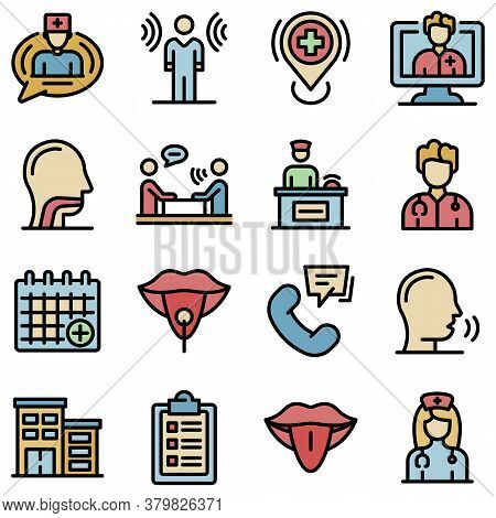 Speech Therapist Icons Set. Outline Set Of Speech Therapist Vector Icons Thin Line Color Flat On Whi