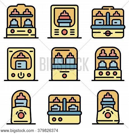 Bottle Sterilizer Icons Set. Outline Set Of Bottle Sterilizer Vector Icons Thin Line Color Flat On W
