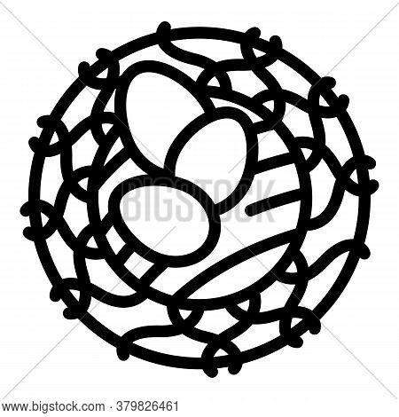 Quail Nest Eggs Icon. Outline Quail Nest Eggs Vector Icon For Web Design Isolated On White Backgroun