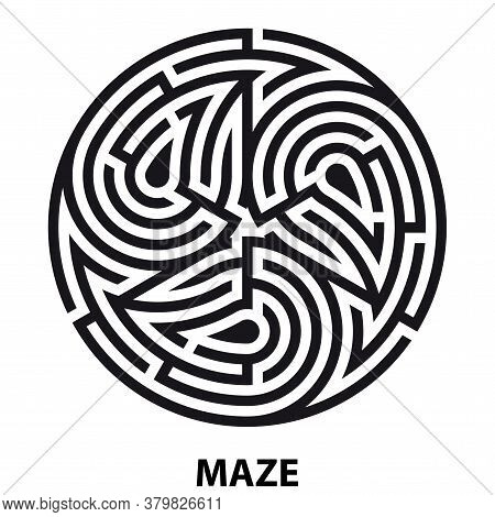 Triskelion Symbol Tattoo Maze. Geometric Circular Labyrinth. Ornament Mandala Print. Vector Illustra
