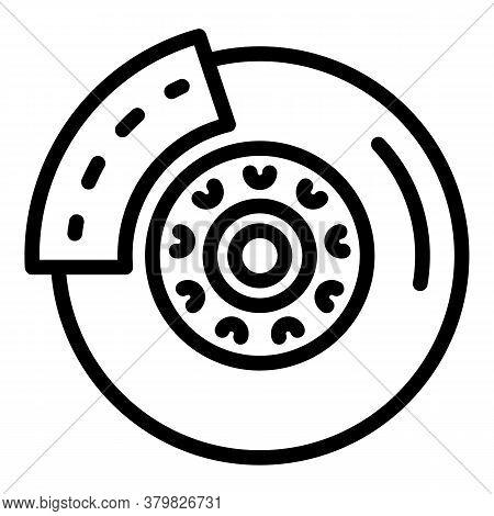 Car Brake Disc Icon. Outline Car Brake Disc Vector Icon For Web Design Isolated On White Background