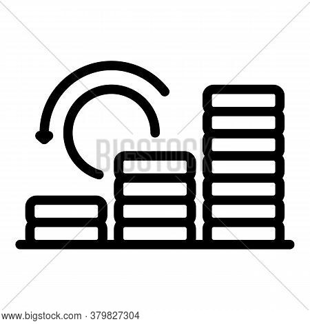 Coin Stack Boost Icon. Outline Coin Stack Boost Vector Icon For Web Design Isolated On White Backgro