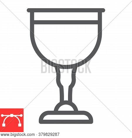 Jewish Goblet Line Icon, Rosh Hashanah And Jewish Cup, Chalice Sign Vector Graphics, Editable Stroke