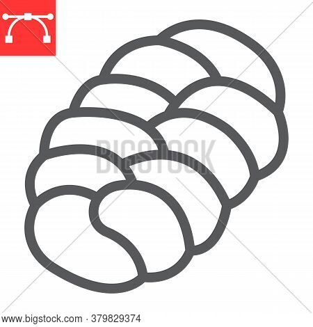 Challah Line Icon, Bread And Loaf, Braided Bread Sign Vector Graphics, Editable Stroke Linear Icon,
