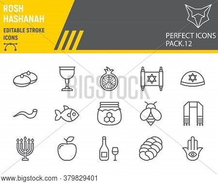 Rosh Hashanah Line Icon Set, Hanukkah Collection, Vector Sketches, Logo Illustrations, Shana Tova Ic