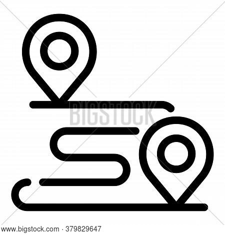 Running Map Icon. Outline Running Map Vector Icon For Web Design Isolated On White Background