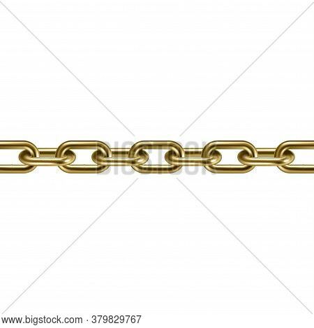 Metal Golden Chain 3d Isolated. Vector Illustration.