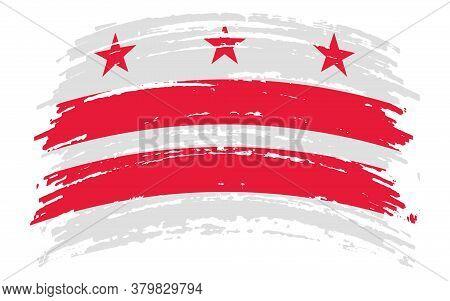District Of Columbia Usa - Washington, D.c. Flag In Grunge Brush Stroke, Vector