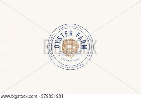 Hand-drawn Mussel Shell Vector Illustration. Logo Or Print Template For A Menu Of A Fish Restaurant,