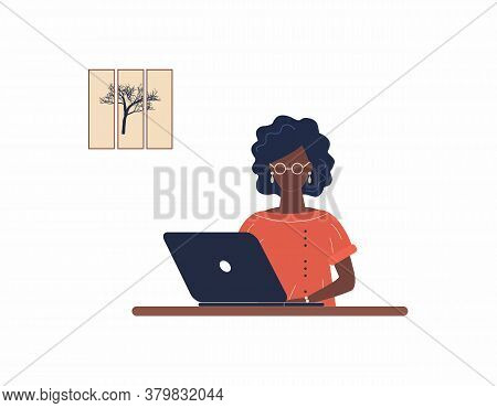 African-american Woman Tutor Work On Laptop.remote Work, Distance Learning Or Online Training During