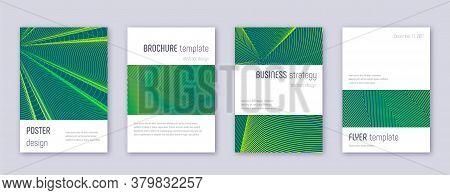 Minimalistic Brochure Design Template Set. Green Abstract Lines On Dark Background. Astonishing Broc