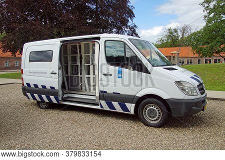 Veenhuizen, The Netherlands - July 29, 2020: Dutch Prisoner Van Parked By The Side Of The Road. Nobo