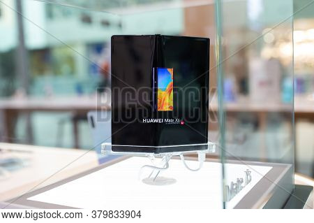 Belgrade, Serbia - May 28, 2020: New Huawei Mate Xs Mobile Smartphone With Foldable Screen Is Shown