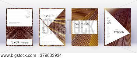 Stylish Brochure Design Template Set. Gold Abstract Lines On Bordo Background. Beautiful Brochure De
