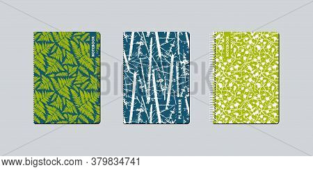 Artistic Notebook Covers Design. Tree, Fern And Branches Pattern