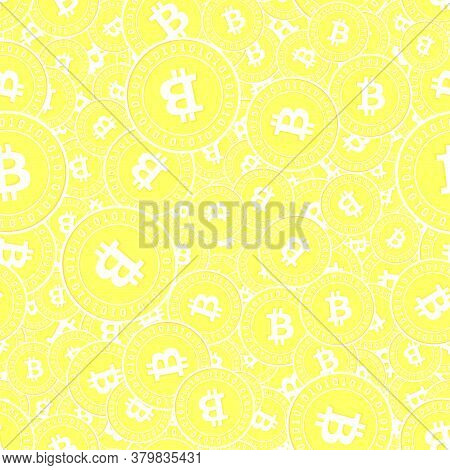 Bitcoin, Internet Currency Gold Coins Seamless Pattern. Remarkable Scattered Yellow Btc Coins. Succe