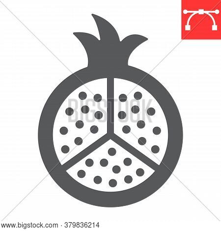 Pomegranate Glyph Icon, Fruit And Punica, Garnet Sign Vector Graphics, Editable Stroke Solid Icon, E