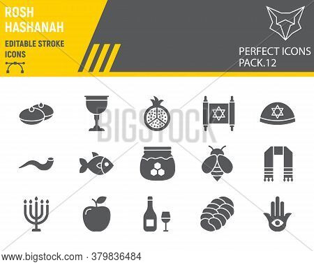 Rosh Hashanah Glyph Icon Set, Hanukkah Collection, Vector Sketches, Logo Illustrations, Shana Tova I