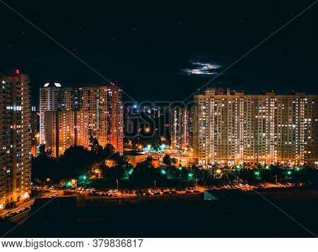 Scenic Windows Of Skyscrapers At Night. Skyscrapers Windows At The Night In Khimki City, Russia.