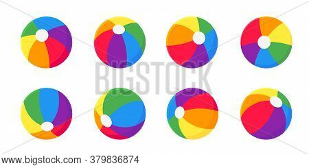 Beach Ball Flat Style Design Vector Illustration Icon Sign Set Collection Isolated On White Backgrou