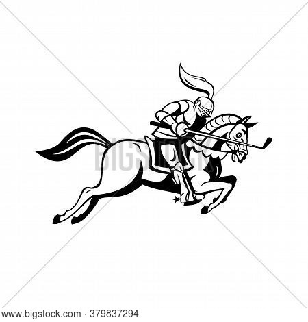 Cartoon Illustration Of An English Knight In Full Armor Riding A Horse Or Steed Armed With Golf Club