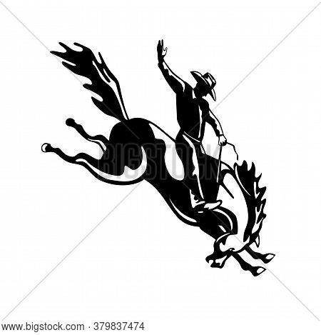 Retro Style Illustration Of A Rodeo Cowboy Riding A Bucking Bronco, A Competitive Equestrian Sport V