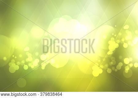 Abstract Bright Spring Or Summer Landscape Texture With Natural Green Bokeh Lights And Yellow Gold C