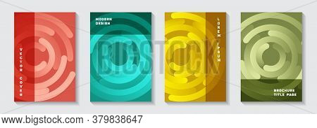 Promotional Portfolio Front Pages Layouts. Graphic Flyer Gradient Circles Twist Vector Backgrounds.