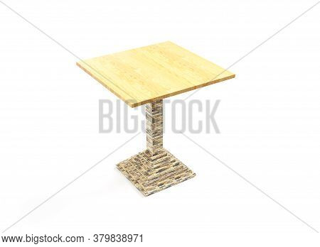 Table. 3d Render Isolated On White. Platform Or Stand Illustration. Template For Object Presentation