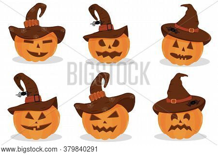 Set Of Halloween Pumpkins With A Hat. Halloween Pumpkin, Funny Scared Face In A Hat. Light Backgroun