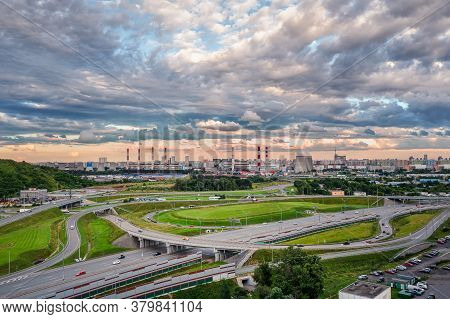 Outskirts Of Moscow. A Road Junction In An Industrial Area Of A Modern Metropolis. Aerial View.