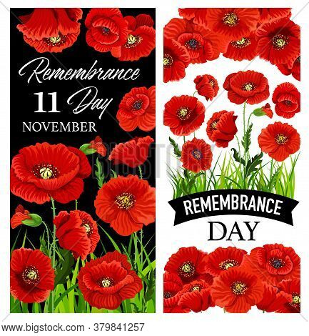 Remembrance Day Red Poppy Vector Banners Of World War Armistice Day Design. November Memorial Annive