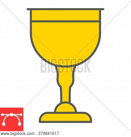 Jewish Goblet Color Line Icon, Rosh Hashanah And Jewish Cup, Chalice Sign Vector Graphics, Editable